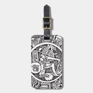 Mayan circle, Mexican hieroglyph(Maya) Luggage Tag