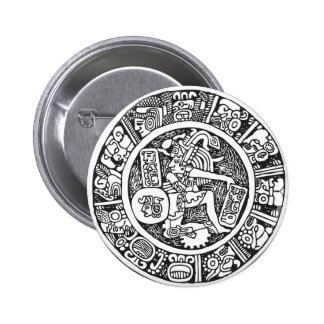 Mayan circle, Mexican hieroglyph(Maya) Pinback Button