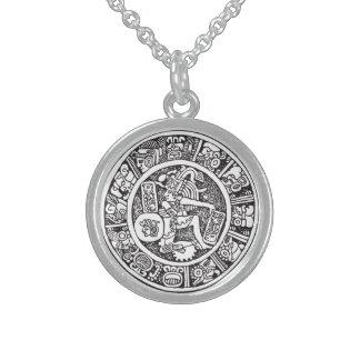 Mayan circle, Mexican hieroglyph(Maya) Round Pendant Necklace