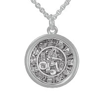 Mayan circle, Mexican hieroglyph(Maya) Sterling Silver Necklace