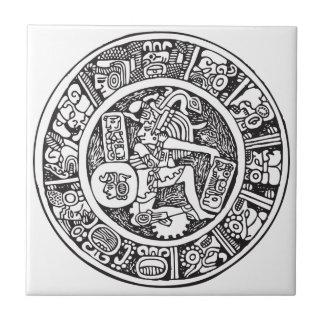 Mayan circle, Mexican hieroglyph(Maya) Small Square Tile