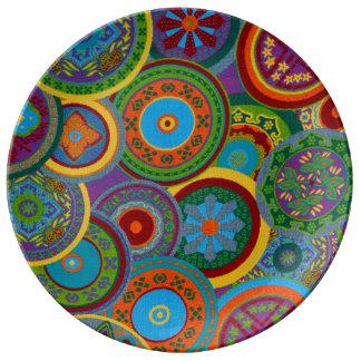 Mayan Circle Pattern Background Dinner Plate