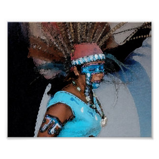 Mayan Dancer-Female (Watercolor) Poster