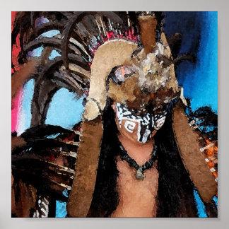 Mayan Dancer-Male (Watercolor) Poster