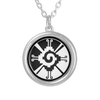 Mayan Deity Symbol Hunab Ku Silver Plated Necklace