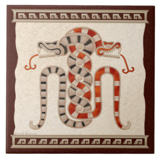 Mayan Entwined Snakes Large Square Tile