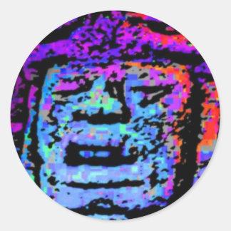 Mayan Face Classic Round Sticker