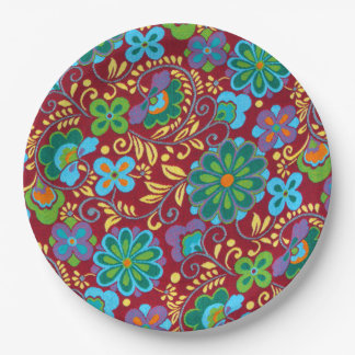 Mayan Floral Red Pattern Paper Plate