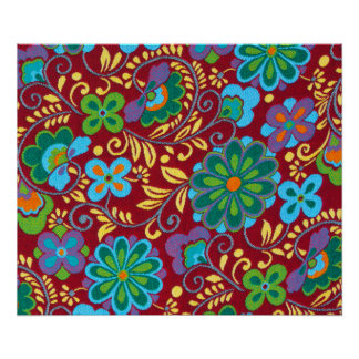 Mayan Floral Red Pattern Poster