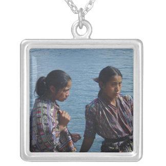 Mayan Girls at Lake Atitlan Silver Plated Necklace