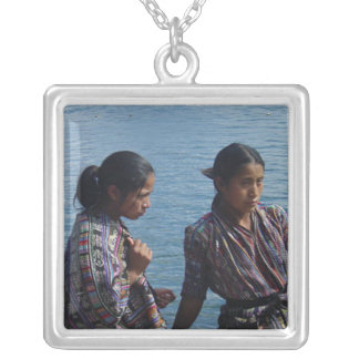 Mayan Girls at Lake Atitlan Square Pendant Necklace