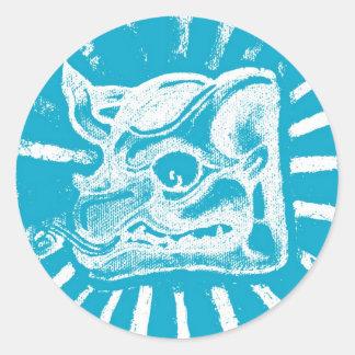 mayan glyph (blue) classic round sticker