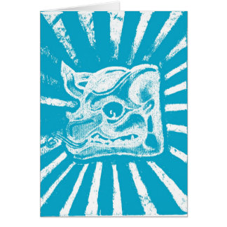 mayan glyph (blue) greeting card