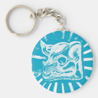mayan glyph (blue) key chain