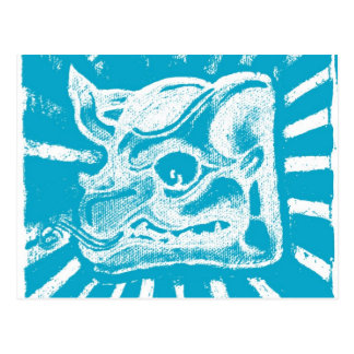 mayan glyph (blue) postcard