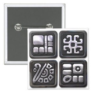 Mayan Glyphs-black and silver Pinback Button