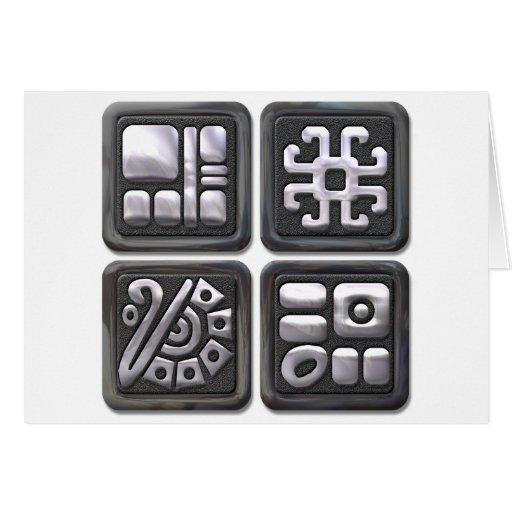 Mayan Glyphs-black and silver Card