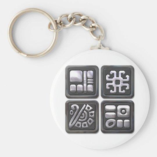 Mayan Glyphs-black and silver Keychain