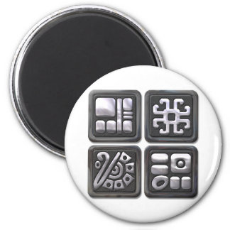 Mayan Glyphs-black and silver Magnet