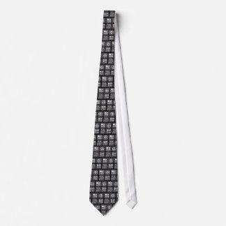 Mayan Glyphs-black and silver Neck Tie