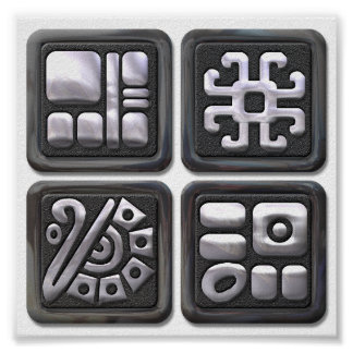 Mayan Glyphs-black and silver Poster