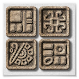 Mayan Glyphs-stone Poster