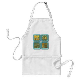 Mayan Glyphs-turquoise Adult Apron