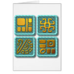 Mayan Glyphs-turquoise Card