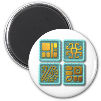 Mayan Glyphs-turquoise Magnet