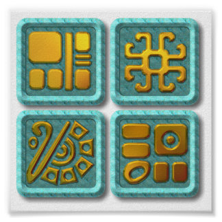 Mayan Glyphs-turquoise Poster