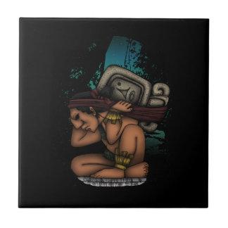 Mayan God Small Square Tile
