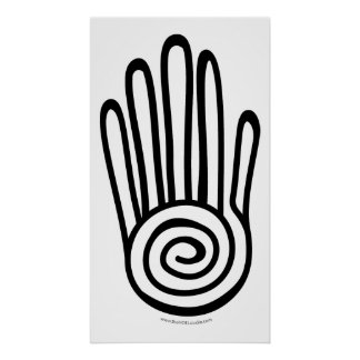Mayan Hand - Black (Digital) Print