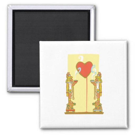 Mayan Heart 2 Inch Square Magnet