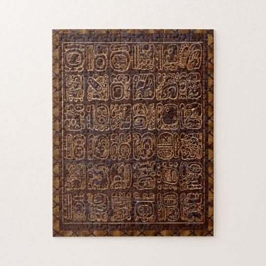 Mayan Hieroglyphics Panel Folk Art Jigsaw Puzzle