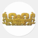 Mayan Jaguar - Gold Round Sticker