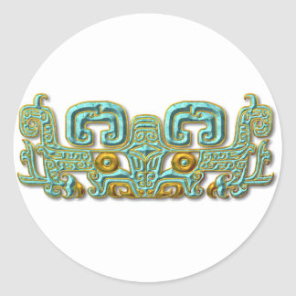 Mayan Jaguar-turquoise and gold Classic Round Sticker