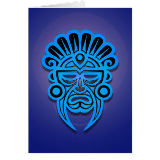 Mayan Mask Design, Blue Card