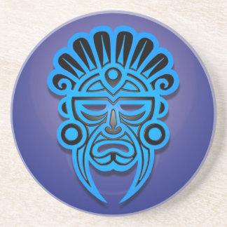 Mayan Mask Design, Blue Coasters