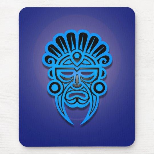 Mayan Mask Design (blue) Mouse Pad