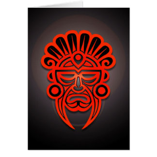 Mayan Mask Design, Red and Black Card