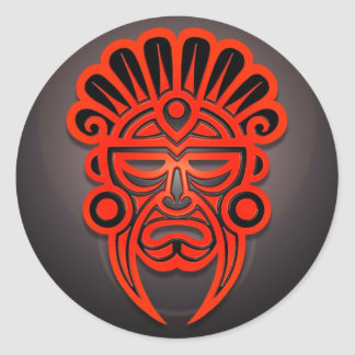 Mayan Mask Design, Red and Black Classic Round Sticker