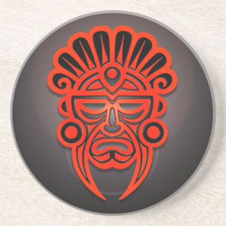 Mayan Mask Design, Red and Black Drink Coasters