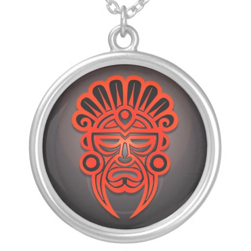 Mayan Mask Design, Red and Black Round Pendant Necklace