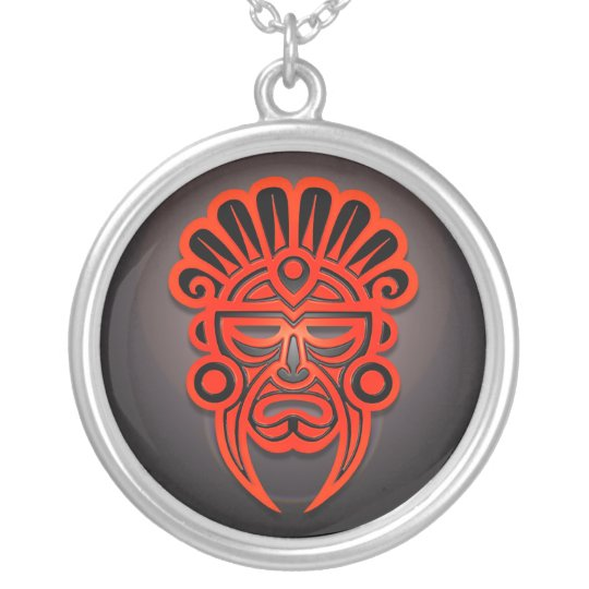 Mayan Mask Design, Red and Black Silver Plated Necklace
