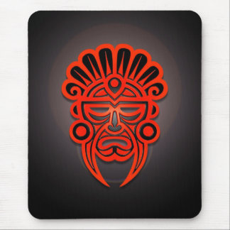 Mayan Mask Design (red) Mouse Pad