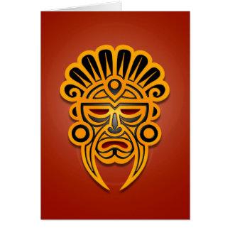 Mayan Mask Design, Yellow and Black Card