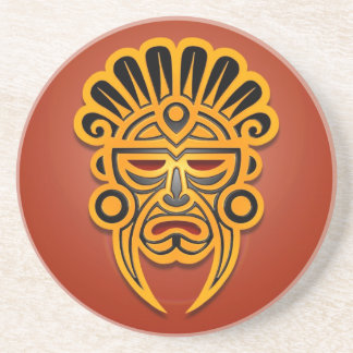 Mayan Mask Design, Yellow and Black Beverage Coaster