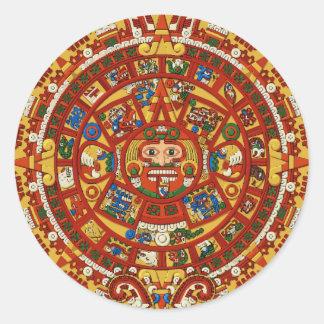 Mayan Maya Aztec Ancient Calendar (detail) Round Sticker