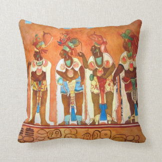 Mayan Men Throw Pillow