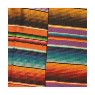 Mayan Mexican Colorful Blankets Wood Print